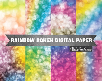Rainbow Bokeh Overlay Digital Paper Pack - Rainbow Blurry Background Image Download - Commercial Use