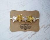 Gold  and Silver Glitter Star Headband - Newborn Baby to Adult -4th of July Headband