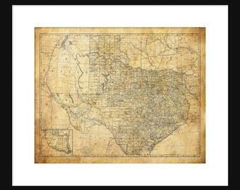 Texas State Map Vintage Print Poster Grunge