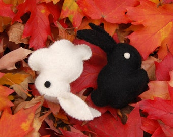 Yin Yang Felted Set Bunny Rabbits -- Unique animal soft sculpture -- Ecofriendly felt animal