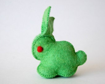 Green Felted Bunny Rabbit Toy -- Unique animal soft sculpture -- Ecofriendly felt animal