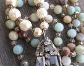 SALE Cross knotted semi precious stone pearl necklace - Joyous Tears - earthy cream long layering spiritual slashKnots