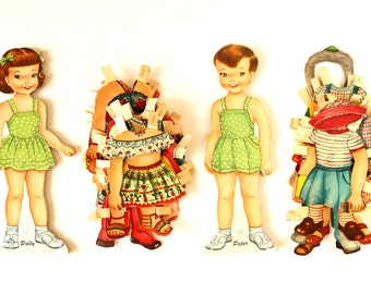 "Vintage Paper Doll ""Polly"" and ""Peter"" with Clothing (c.1950s) - Doll Ephemera, Collectible Toy, Paper Projects"