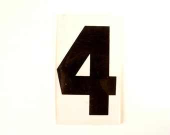 "Vintage Industrial Marquee Number ""4"" Sign, Black on Clear Thick Acrylic (7 inches tall) - Industrial Decor, Altered Art Assemblage Supply"