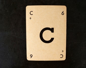 "Vintage Alphabet Card Letter ""C"" Black and White, 3-1/2 inches tall (c.1937) - Wedding Table Letter, DIY Garland Cards"