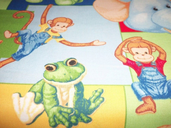 Fun jungle babies fabric patty reed nursery kids colorful fat for Childrens jungle fabric