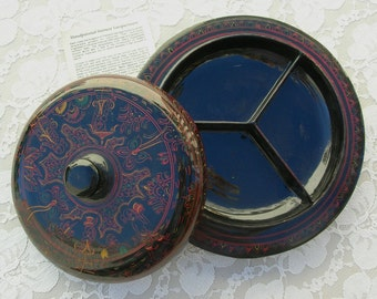 Thai Lacquered Wood Serving Bowl/Box, hand-crafted, hand-painted, 3 sections, traditional design of women & man, purchased in Thailand