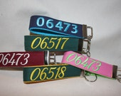 Reserved Order / Keyfob wristlet / key chain / embroidered zip code keyfobs