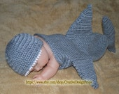 Nautical Sea Marine Critter - Shark Hat and Cocoon set - Halloween, Photo Prop Cape for newborn baby or Baby Shower Gift - Pick your color