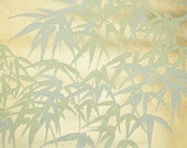 Retro Flock Wallpaper by the Yard 70s Vintage Flock Wallpaper - 1970s Cream Tropical Flock Leaf Fronds on Metallic Gold
