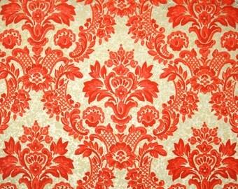 Retro Flock Wallpaper by the Yard 70s Vintage Flock Wallpaper - 1970s Orange and Gold Flock Damask