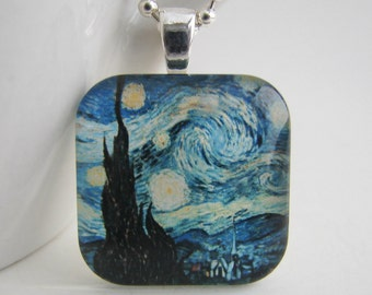 Van Gogh's Starry Night Glass Tile Pendant with Free Necklace