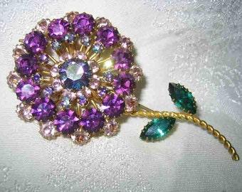 Vintage Awesome Large Austria Purple Lavender Rhinestone Brooch