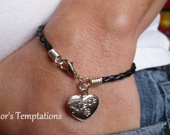 Niece Heart Bracelet-  Black Braided Leather Charm Bracelet Friendship Bracelet Niece Bracelet