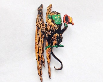 Flying Monkey from the Wizard of Oz Wooden brooch pin Birthday Christmas Holiday Gift for Land of Oz Fans