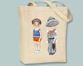 Vintage Cowboy PaperDoll Illustration Canvas Tote -- shoulder or hand strap -- Selection of bag sizes available