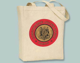 Vintage Parisian Label transferred onto Natural or Black Canvas Tote -- Selection of sizes available