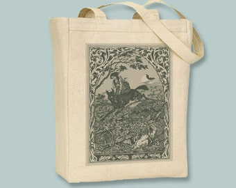 Vintage Witch and Wolf Image Black or Natural Canvas Tote -  Selection of sizes, ANY COLOR image