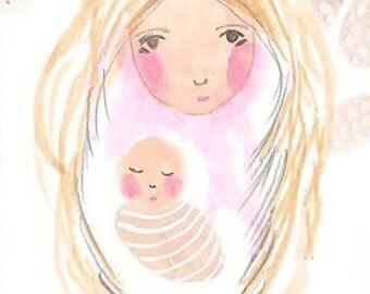 Mother Baby ACEO Original, Mum, Mom Art, New Baby Art Gift, Mother and Child, ACEO Original, Art, Illustration, Precious One