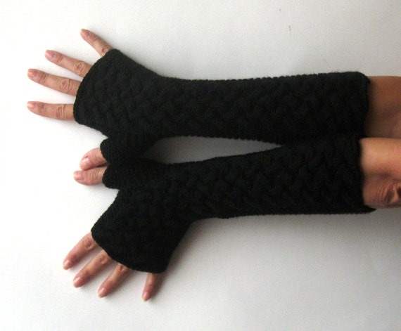 Black Fingerless Gloves Knit Cable Arm Warmers Winter Long Hand Warmers Women Fingerless Mittens Fashion Accessories Braided Gloves - KG0013