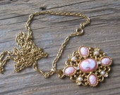 Vintage Peach Pink Cameo with Pearls Rhinestones Pendant on Gold Chain.  Avon
