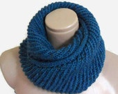 infinity scarf, cowl, neck warmer, Circle Scarf, soft, hand knit, unisex, women, Men, Tweed cerulean
