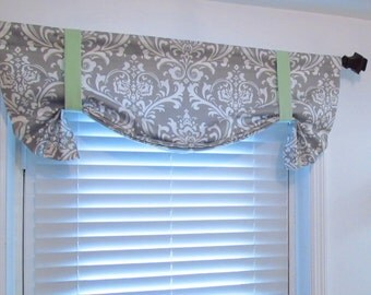 Tie Up Valance  Lined Curtain Gray White Mint Damask/  Custom Sizing Available!
