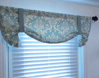 Tie Up Valance Lined Curtain London Valance Village Blue Natural Damask Custom Sizing Available!