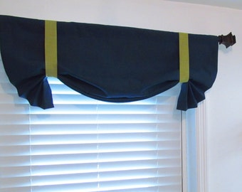 Solid Navy Blue Green Tie Up Curtain VALANCE HANDMADE in the USA
