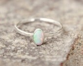 OVAL OPAL RING - opal ring - opal stacking ring - gemstone stacking ring - october birthstone ring - october ring stacking ring -skinny ring