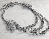 "Royal Victorian style crystals necklace. Vintage style diamante shining necklace. ""Ana Karenina"" silver crystals necklace. wedding necklace"
