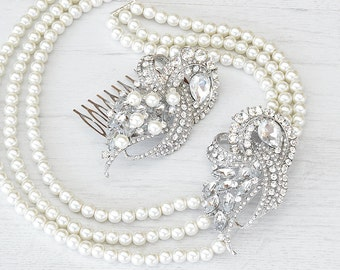 Vintages style pearls necklace and crystal hair comb set. Handcrafted Bride jewelry set. Handmade hair comb necklace set. Wedding pearls set