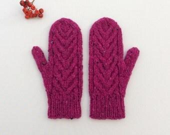Wool Mittens, Winter Mittens, Magenta Gloves, Gift for Her