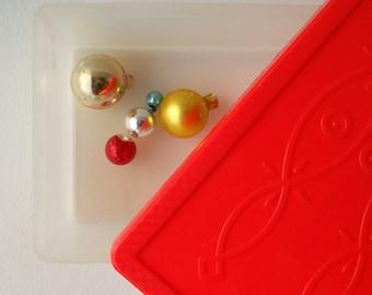 Vintage Red Box, Retro Storage Container, Plastic Organization