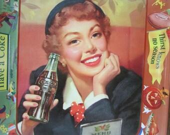 Coke Coca Cola Menu Girl 1953 Metal Tray Near Mint