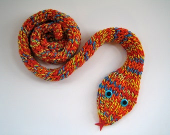 ANIMAL Scarf - unisex scarf - multicolored kids's scarf - funny scarf - hand knit scarf - gift for child - snake scarf - unique kid's gift