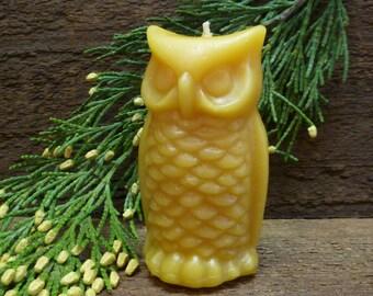 100% Beeswax Woodland Owl Candle