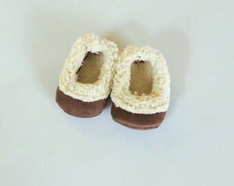 Brown Infant & Toddler Sherpa Booties - Gift for Baby Boy - Gift for Baby Girl