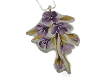 Broken china jewellery. Beautiful purple floral pendant.  vintage china plate. Unusual. Eco. Ooak. Quirky. Upcycled. Broken china. Unique.