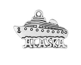 "5 Antique Silver Cutout ""Alaska"" CRUISE SHIP Charm Pendants  chs1446"