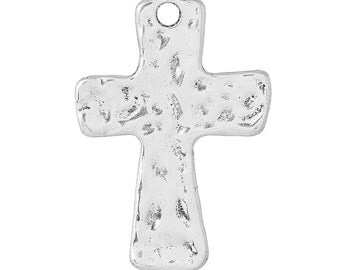 """4 Hammered Silver Cross Pendant Charms, large 1-3/4"""" long chs1728a"""