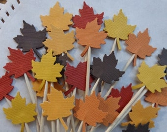24 Maple Leaf Cupcake Toppers - Food Picks - Party Picks - Classic New England Autumn Colors - Thanksgiving - Appetizers - Leaves