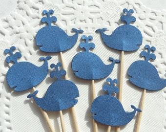 24 Blue Shimmer Whale Cupcake Toppers - Food Picks - Party Picks - Appetizer Picks - Baby Shower - Wedding - Birthday Party Supplies
