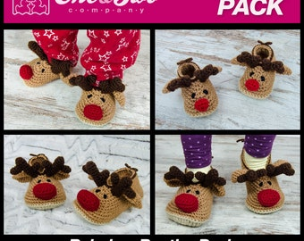 Reindeer Booties Pack - PDF Crochet Patterns - Baby, Toddler and Child sizes - Baby Newborn Slippers