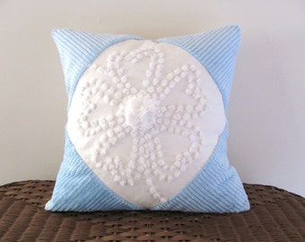 blue pillow cover, WHITE HIBISCUS 16 X 16 inches, baby blue cushion cover, cottage chic pillow case, shabby beach cushion