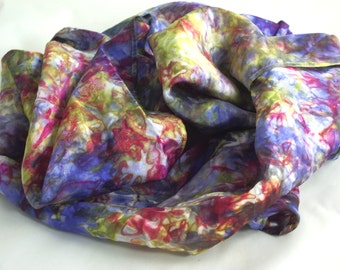 "silk scarf 11"" x 60 "" Habotai multi colored women's silk accessories pink green and purple"