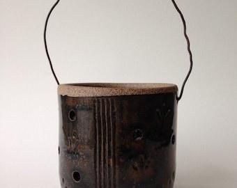 Wheel Thrown Stoneware Pottery Luminary, Patio Light, Garden Light, Tea Light, Waterfall Brown