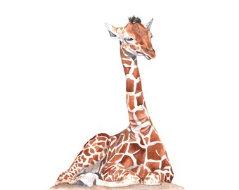 Giraffe Baby Watercolor Painting- print of watercolor painting A4 print