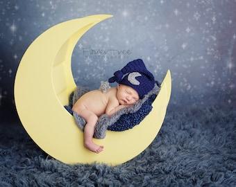 Newborn Moon Hat, Newborn Elf Hat, Newborn Photo Prop, Mr Sandman Hat, Long Tail Hat, Moon And Star Hat, Newborn Elf Hat, Crochet Baby Hat