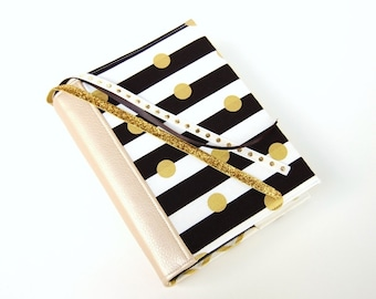 Bible Cover - Book Sleeve - ESV Journaling Bible Single and Double Column - NIV - Black and White Stripes with Gold Foil Dots